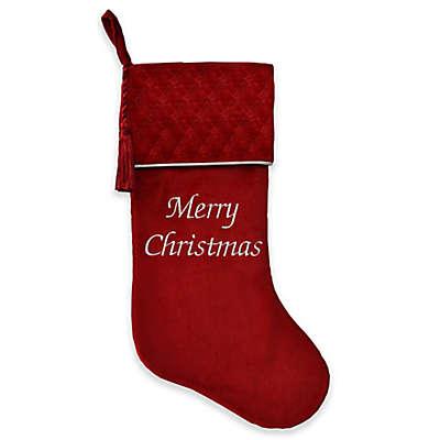 Harvey Lewis™ Embroidered Velvet Merry Christmas Stocking