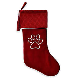 Harvey Lewis™ Luxurious Silver Embroidered Velvet Paw Stocking in Red