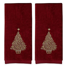 Saturday Knight 2-Piece Glimmer Tree Hand Towel Set in Burgundy