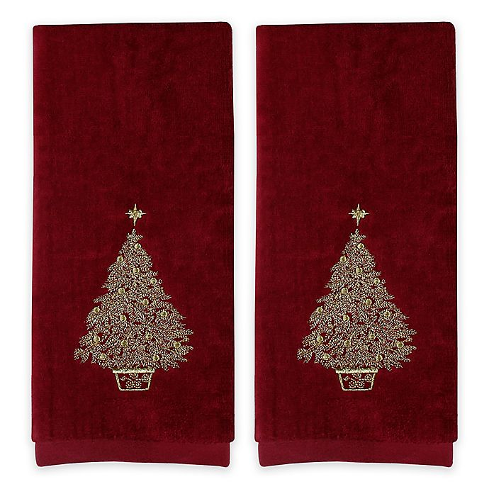 Alternate image 1 for Saturday Knight 2-Piece Glimmer Tree Hand Towel Set in Burgundy