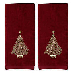 Saturday Knight 2 Piece Glimmer Tree Hand Towel Set In Burgundy