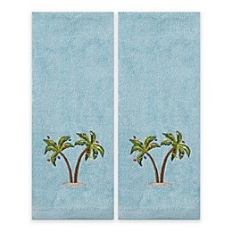 Saturday Knight 2-Piece Coastal Palm Hand Towel Set in Teal