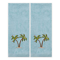 Saturday Knight 2-Piece Coastal Palm Hand Towel Set in Teal