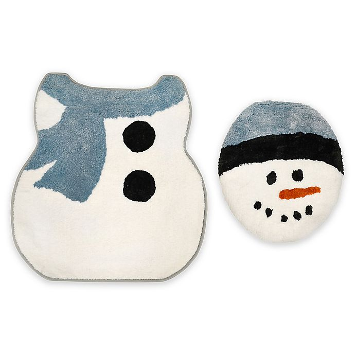 Alternate image 1 for Home Dynamix 2-Piece Holiday Snowman Toilet Lid Cover and Mat Set
