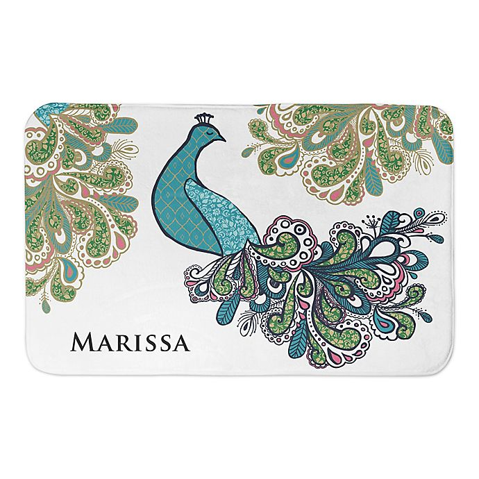 Alternate image 1 for Designs Direct 34'' x 21'' Peacock Prance Bath Mat in Green