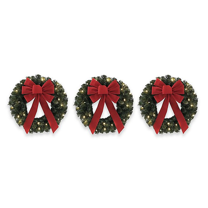 18 Inch Pre Lit Wreaths Set Of 3 Bed Bath Amp Beyond