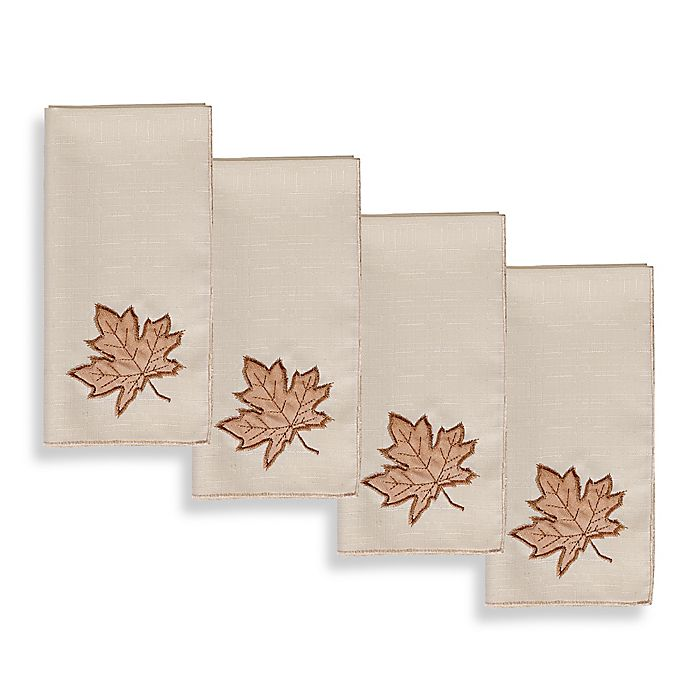 Alternate image 1 for Sam Hedaya Burwell Leaf Cutwork Napkins (Set of 4)