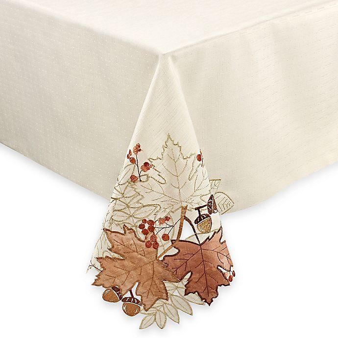 Alternate image 1 for Sam Hedaya Burwell Leaf Cutwork Tablecloth in Ivory
