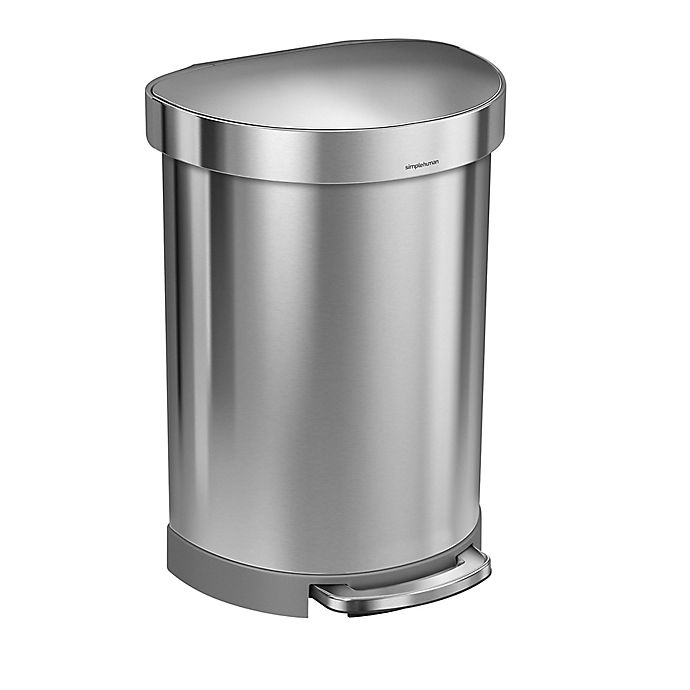 Alternate image 1 for simplehuman®  Semi-Round 60-Liter Step-On Trash Can with Liner Rim