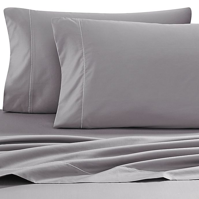 Alternate image 1 for Wamsutta® 500-Thread-Count PimaCott® Memory Foam Mattress Queen Sheet Set in Grey