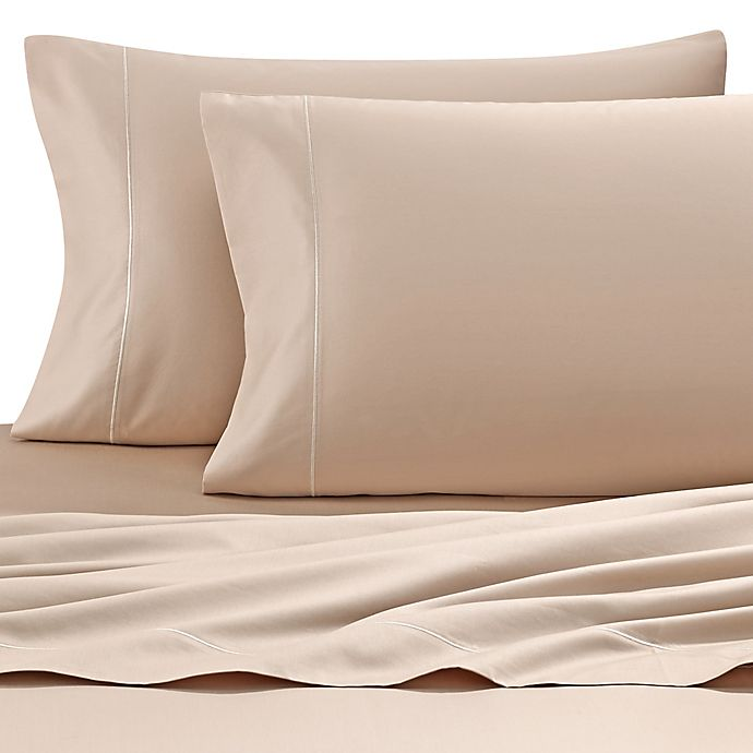 Alternate image 1 for Wamsutta® 500-Thread-Count PimaCott® Memory Foam Mattress Queen Sheet Set in Taupe