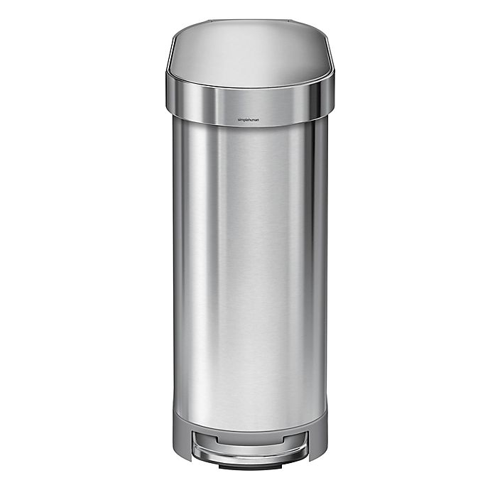 Alternate image 1 for simplehuman® Slim 45-Liter Step-On Trash Can with Liner Rim
