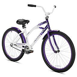 Kent Rockvale 26-Inch Ladies' Cruiser Bicycle in White/Purple