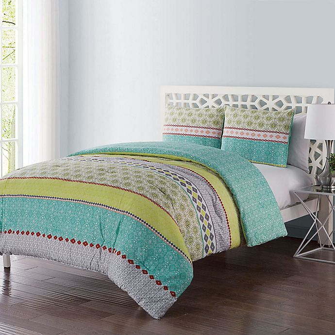 Alternate image 1 for VCNY Home Dharma 3-Piece Reversible King Duvet Cover Set in Green/Grey