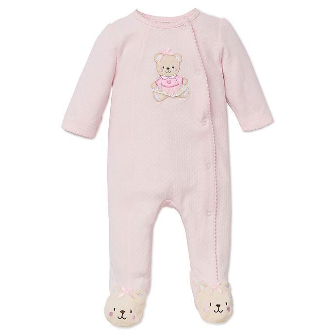 Alternate image 1 for Little Me® Preemie Sweet Bear Footie in Pink