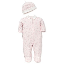 Little Me® Preemie 2-Piece Rose Print Snap-Front Footie and Hat Set in Pink