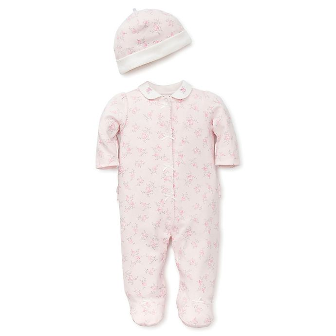 41a34d5bae71 Little Me® Preemie 2-Piece Rose Print Snap-Front Footie and Hat Set ...