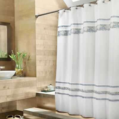 CroscillR Spa Tile 72 Inch X 84 Fabric Shower Curtain In White