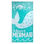 Mermaid Jacquard Oversized Beach Towel in Teal/White