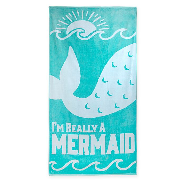 Alternate image 1 for Mermaid Jacquard Oversized Beach Towel in Teal/White