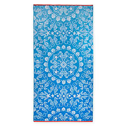 Seahorse Medallion Jacquard Oversized Beach Towel in Blue/Coral