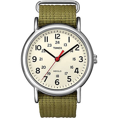 Timex® Weekender Unisex 38mm Watch in Silvertone Brass with Olive Nylon Strap