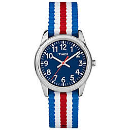 Timex® Time Machines Children's 30mm Watch with Red/White/Blue Nylon Strap
