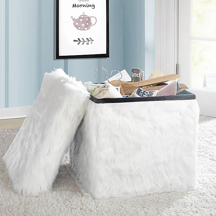 Alternate image 1 for Mongolian Fur Collapsible Storage Cube in White