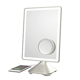 iHome Pro Rechargeable Vanity Speaker Mirror in Silver/Nickel
