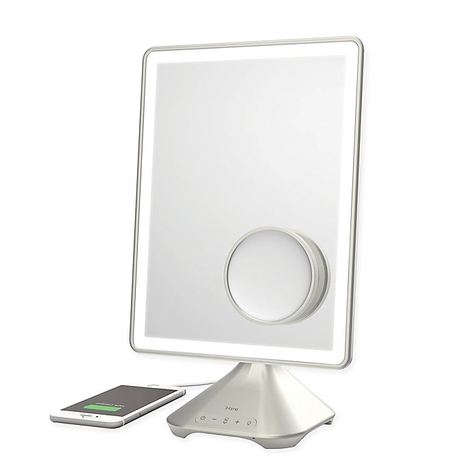Alternate image 1 for iHome Pro Rechargeable Vanity Speaker Mirror in Silver/Nickel
