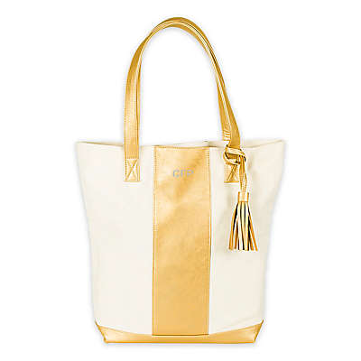 Cathy's Concepts Faux Leather and Canvas Weekender Tote in Gold