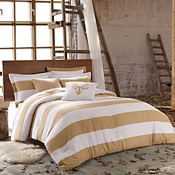 Kensie Delilah Full/Queen Duvet Cover in Taupe/White