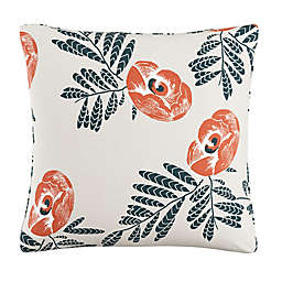 Skyline Floral Square Throw Pillow in Orange