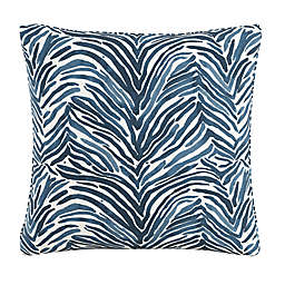Skyline Zebra Square Throw Pillow in Blue