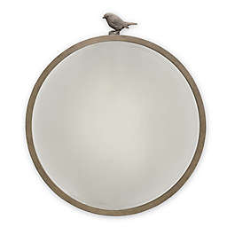 ED Ellen DeGeneres Forest Animal Beveled Round Mirror in Natural Grey
