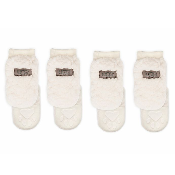 Alternate image 1 for UGG® Sherpa Dog Booties in Birch (Set of 4)