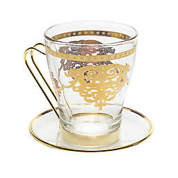 10707bac4b1 Classic Touch Glim Tea Cups with Plates with 14K Gold Design (Set of 6)