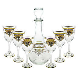 Classic Touch Glim 7-Piece Wine Set in Gold