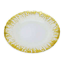 Classic Touch Trophy Milk Glass Plates with Flashy Gold Design (Set of 4)