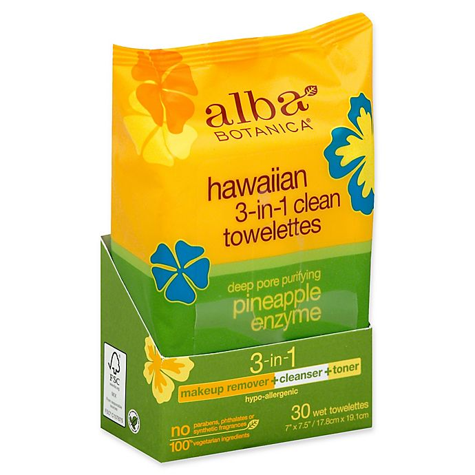 Alternate image 1 for alba BOTANICA® 30-Count Hawaiian 3-in-1 Deep Pore Purifying Pineapple Enzyme Towelettes
