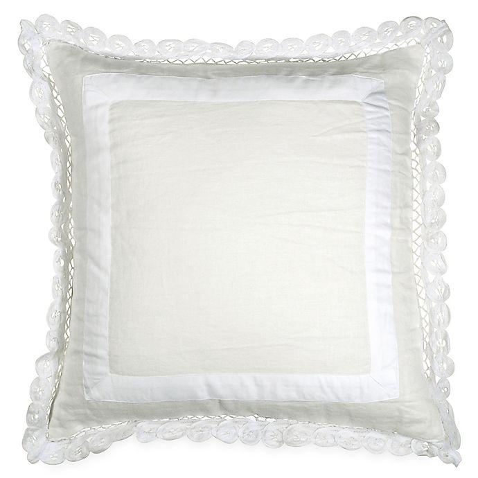 Alternate image 1 for Wamsutta® Vintage Gauze Double Ruffle Square Throw Pillow in Winter White