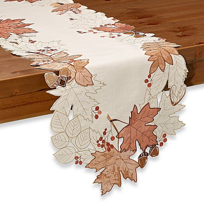 Alternate image 1 for Sam Hedaya Burwell Leaf Cutwork Table Runner in Ivory