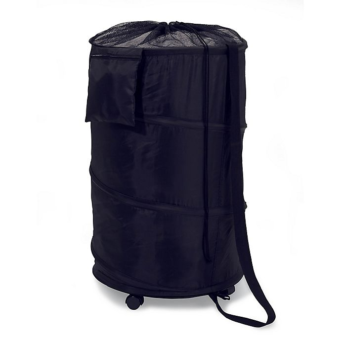 Alternate image 1 for Honey Can Do Pop-Up Wheeled Hamper in Black