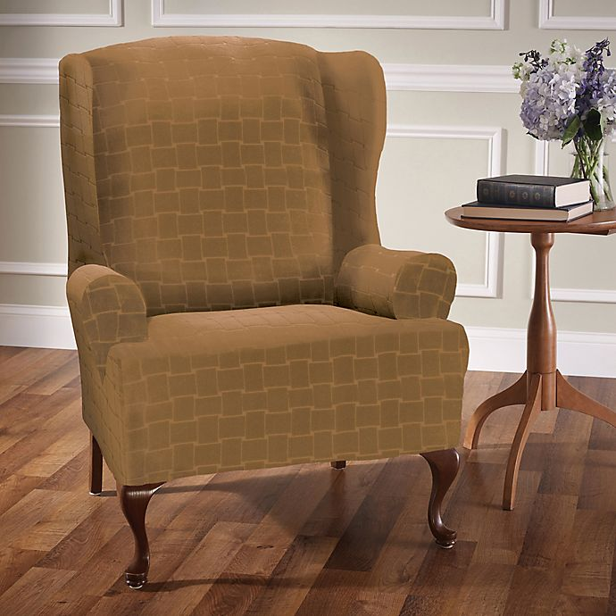 Alternate image 1 for Basketweave Stretch Wingback Chair Slipcover