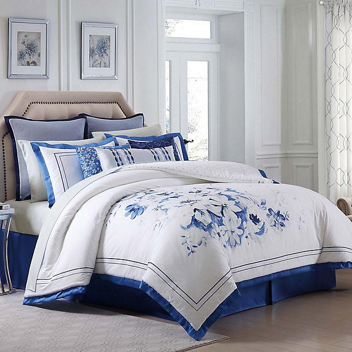 buy charisma home alfresco floral california king comforter set in white blue from bed bath beyond. Black Bedroom Furniture Sets. Home Design Ideas