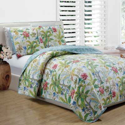 Panama Jack 174 Matisse Palm Reversible Quilt Set Bed Bath