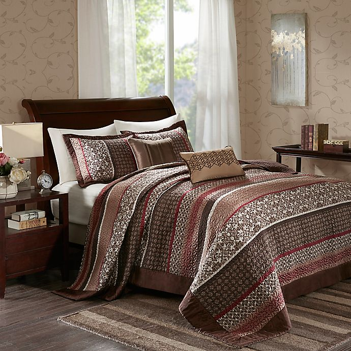 Alternate image 1 for Madison Park Princeton 5-Piece Queen Bedspread Set in Red