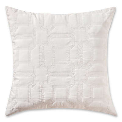 Highline Bedding Co. Hylton Quilted Square Throw Pillow in Silver