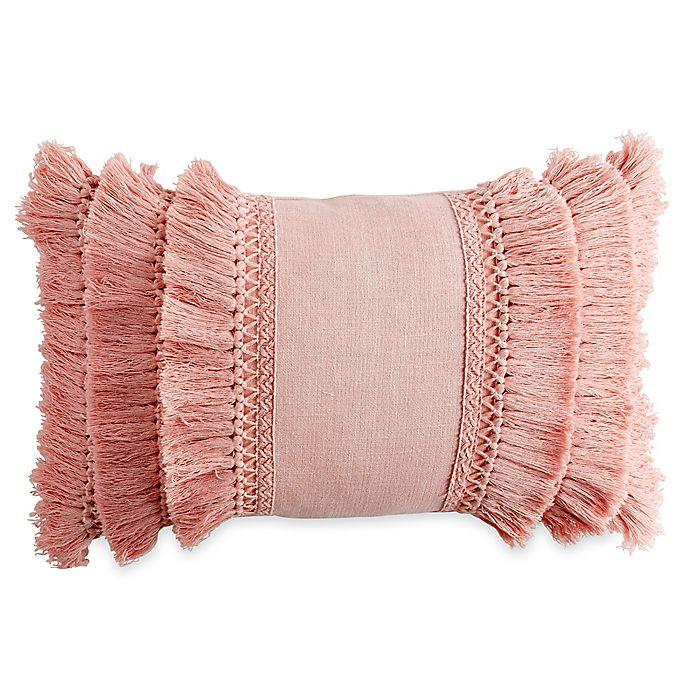 Chenille Lattice Fringe Oblong Throw Pillow In Blush Bed
