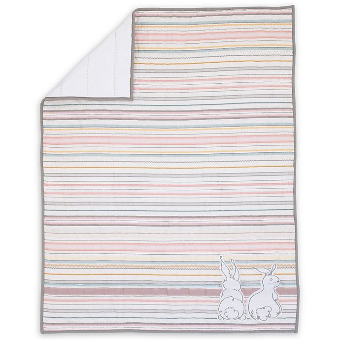 Alternate image 1 for ED Ellen DeGeneres Cotton Tail Striped Quilt in Pink/Grey